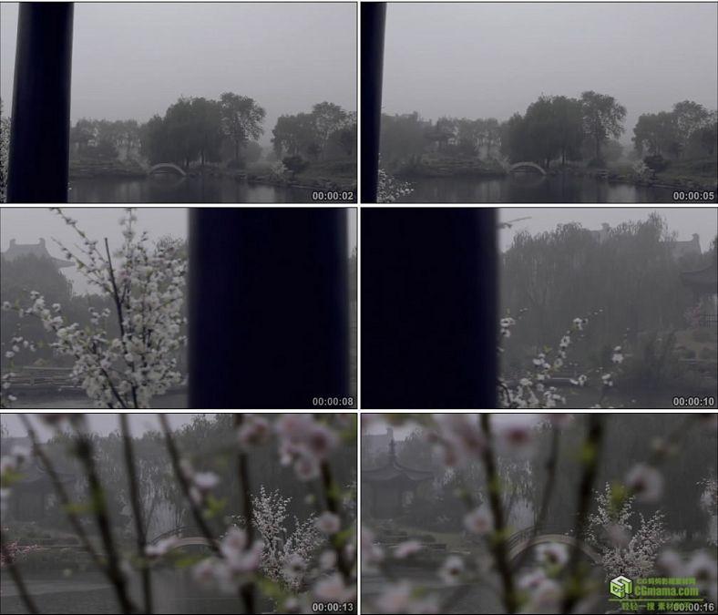 YC0001-江南烟雨下雨的园林雾气蒙蒙中国实拍视频素材