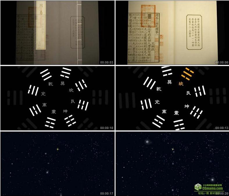 YC0002-周易八卦/星空/书籍/中国高清实拍视频素材