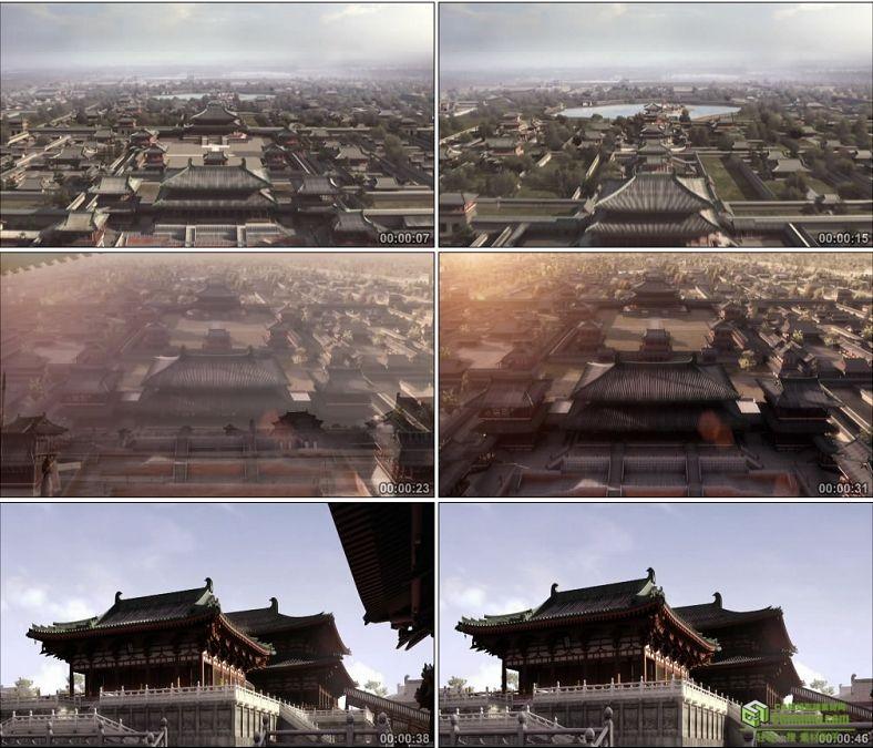 YC0013-中国大气宫殿/航拍镜头/唐朝大明宫/高清实拍视频素材