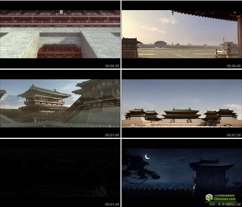 YC0014-中国古城墙大气宫殿/古城门/夜间宫殿/高清实拍视频素材