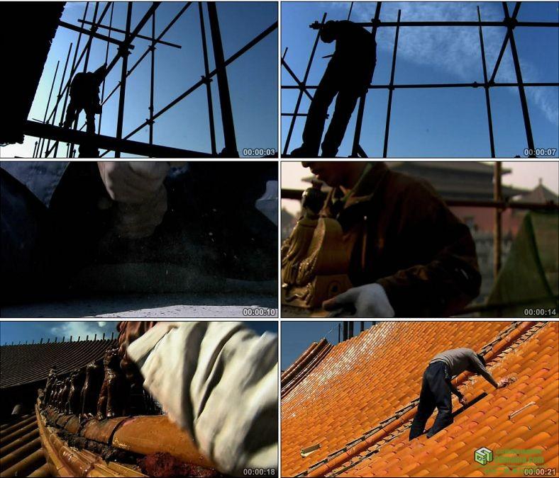 YC0031-工人建设施工现场/故宫修缮/延时镜头/中国高清实拍视频素材