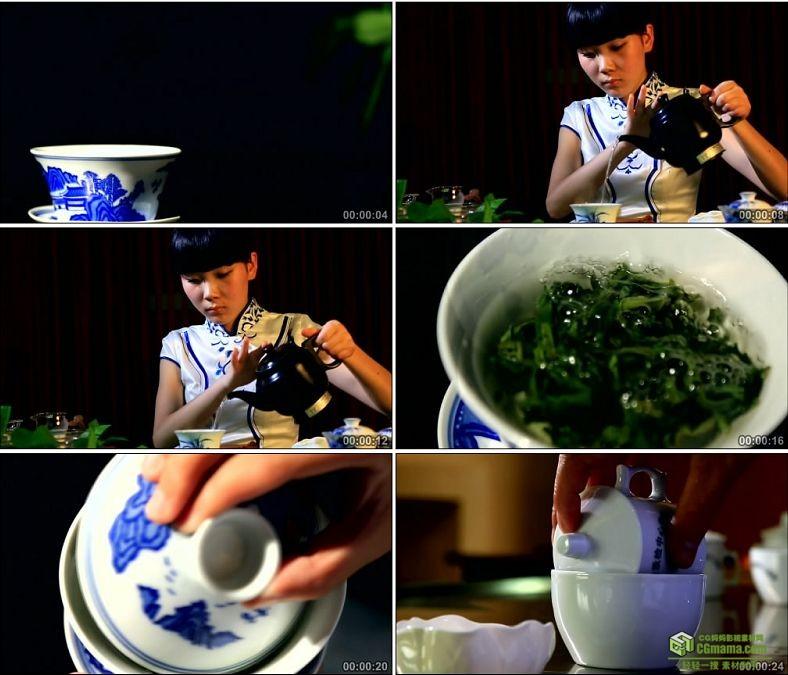YC0054-美女泡茶茶艺茶道/沏茶冲茶/茶叶中国高清实拍视频素材下载