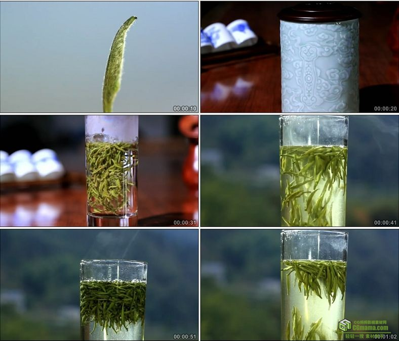 YC0061-黄山毛峰特写品茶茶叶喝茶冲茶泡茶/中国高清实拍视频素材下载
