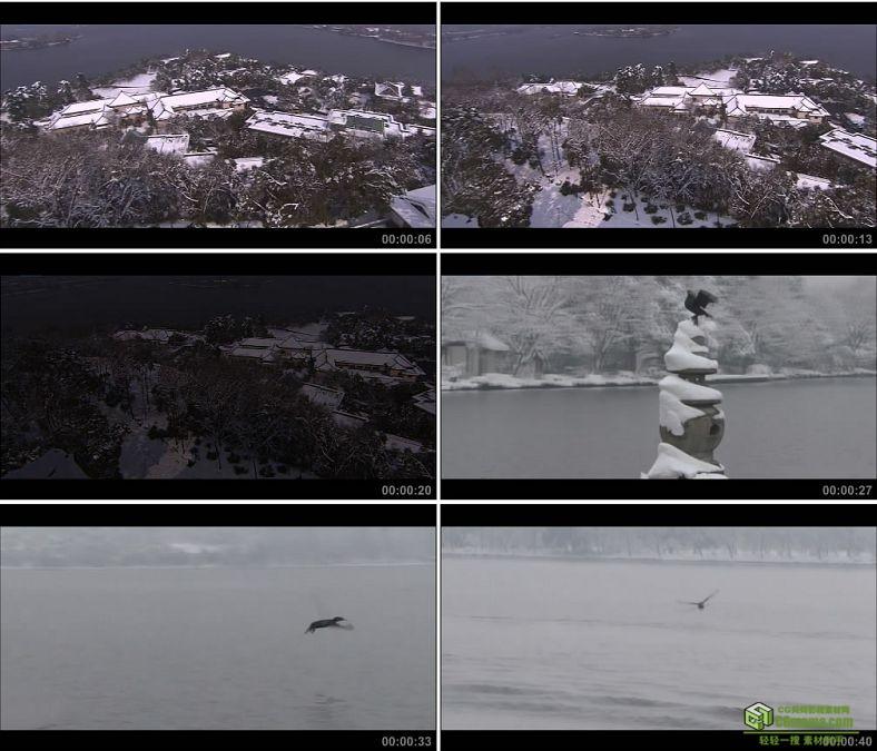 YC0097-杭州西湖雪景/中国高清实拍视频素材下载