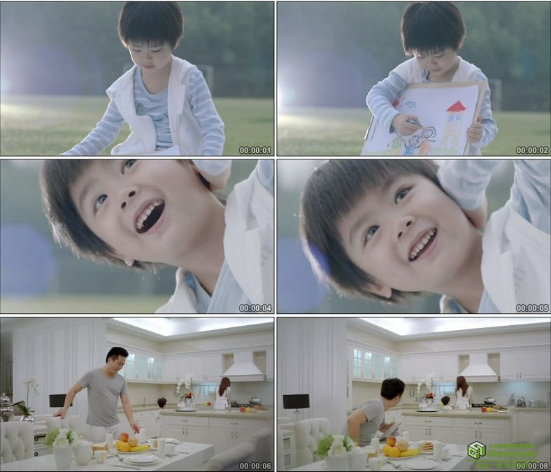 YC0114-小孩一家人的幸福生活/小男孩笑容/中国高清实拍视频素材下载