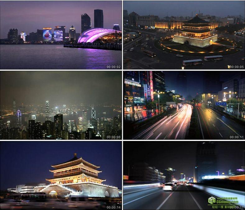 YC0121-中国城市夜景车流交通船延时摄影/中国高清实拍视频素材下载