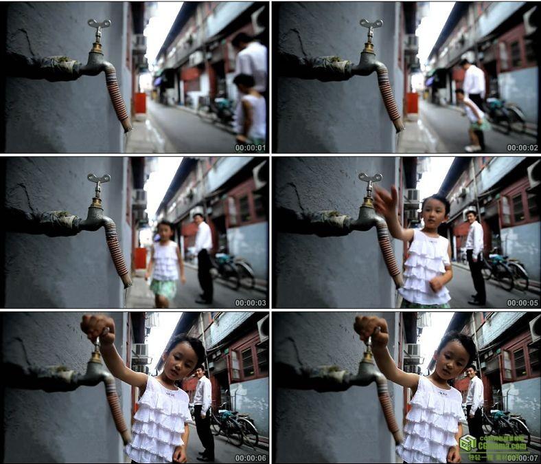 YC0122-保护环境节约用水水龙头/小女孩公益广告/中国高清实拍视频素材下载