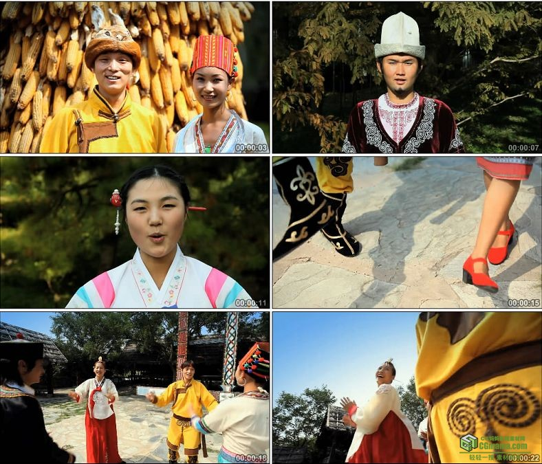 YC0126-西藏布达拉宫少数民族跳舞笑脸荡秋千/中国高清实拍视频素材下载
