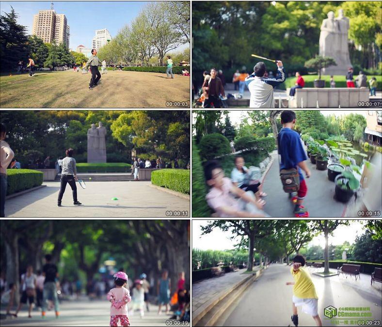 YC0160公园里活动的人群打羽毛球打网球玩滑板溜冰中国高清实拍视频素材下载