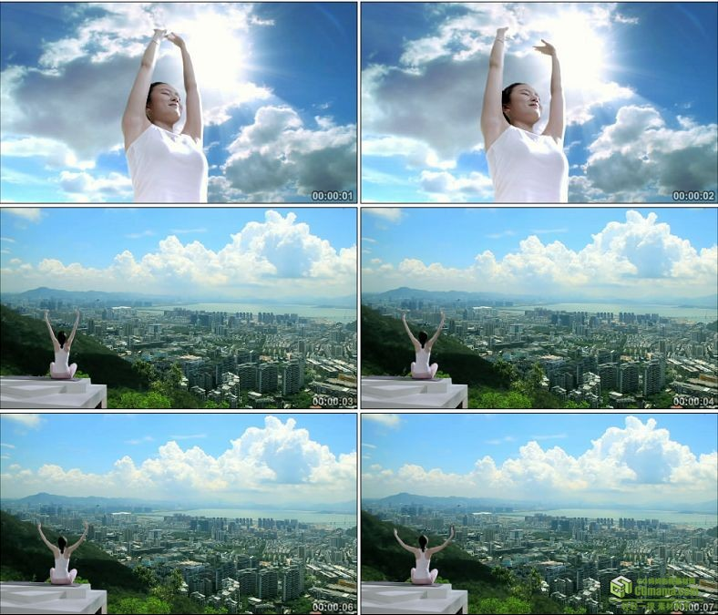 YC0166-楼顶做瑜伽的女人享受生活美好人生/中国高清实拍视频素材下载