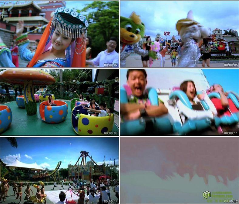 YC0167-少数民族跳舞欢乐谷游乐场/中国高清实拍视频素材下载