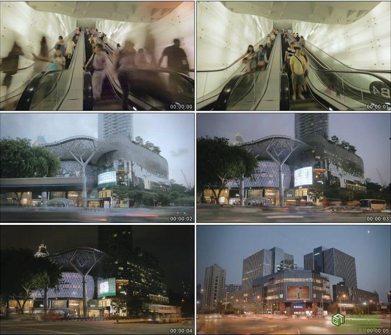 YC0178-商场购物电梯人群城市车流延时镜头/中国高清实拍视频素材下载