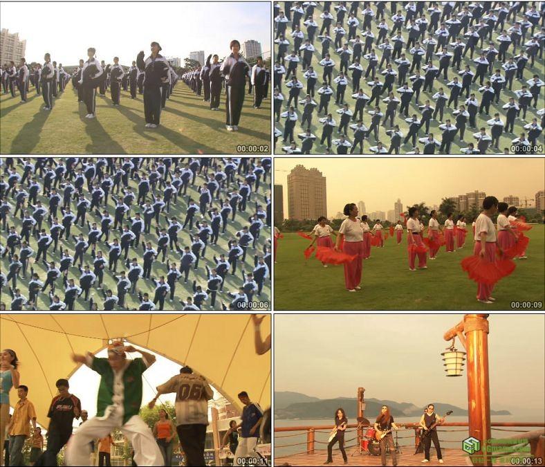YC0184-学生操场体操做操大妈广场舞年轻人摇滚/中国高清实拍视频素材下载