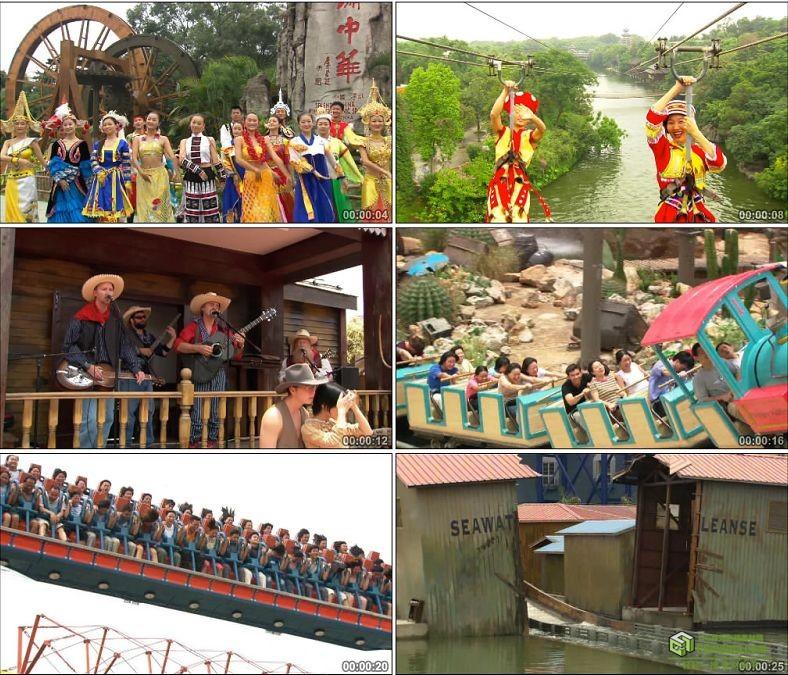 YC0185-游乐园游乐场过山车少数民族舞蹈/中国高清实拍视频素材下载
