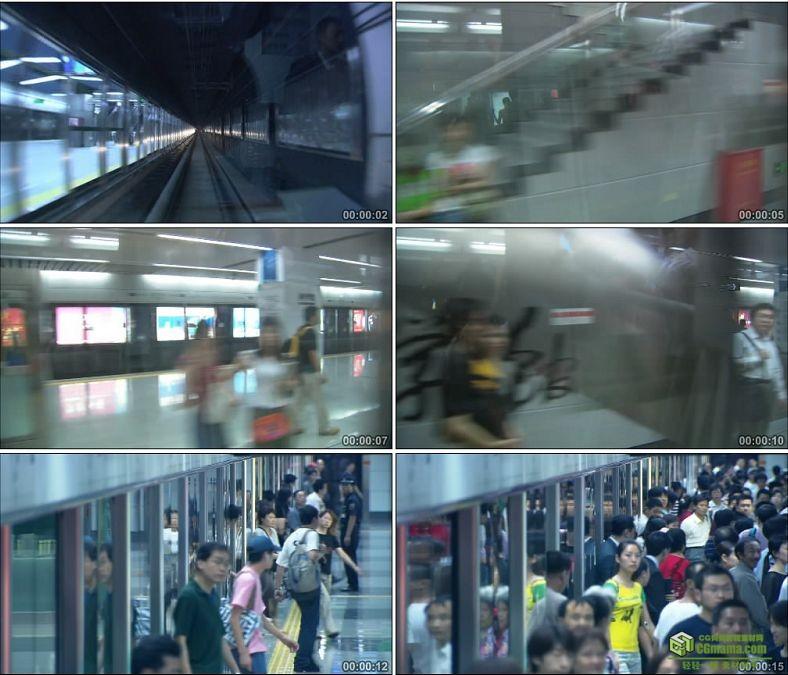 YC0187-地铁站地铁人流过隧道飞速行驶/中国高清实拍视频素材下载