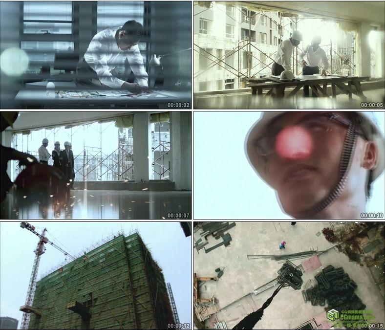 YC0195-画地产规划图建筑设计图视察工地楼房建设/中国高清实拍视频素材下载