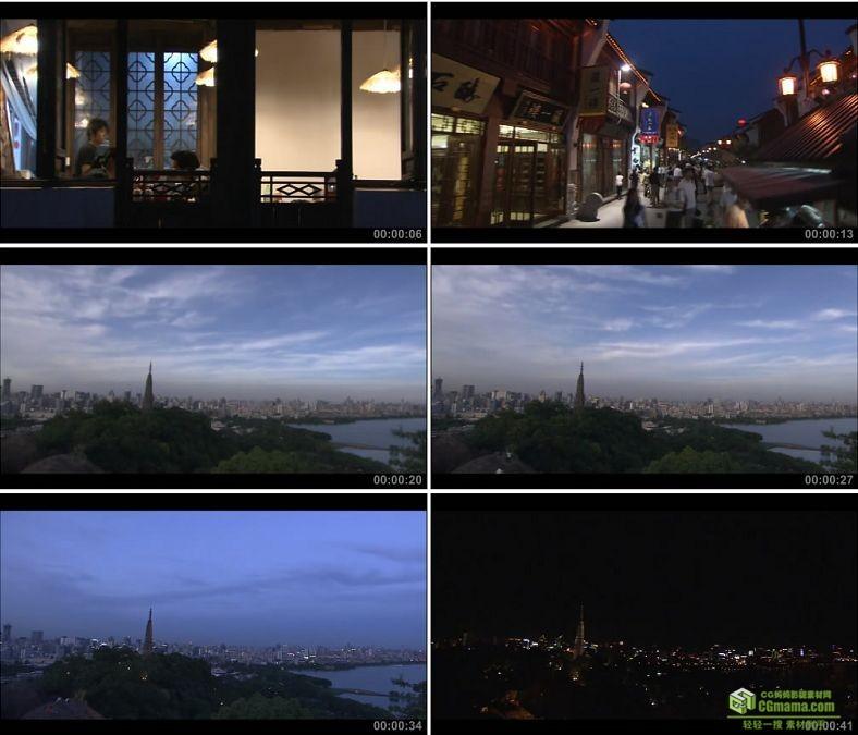 YC0227-杭州夜景夜市雷峰塔白天到晚上延时摄影/中国高清实拍视频素材下载