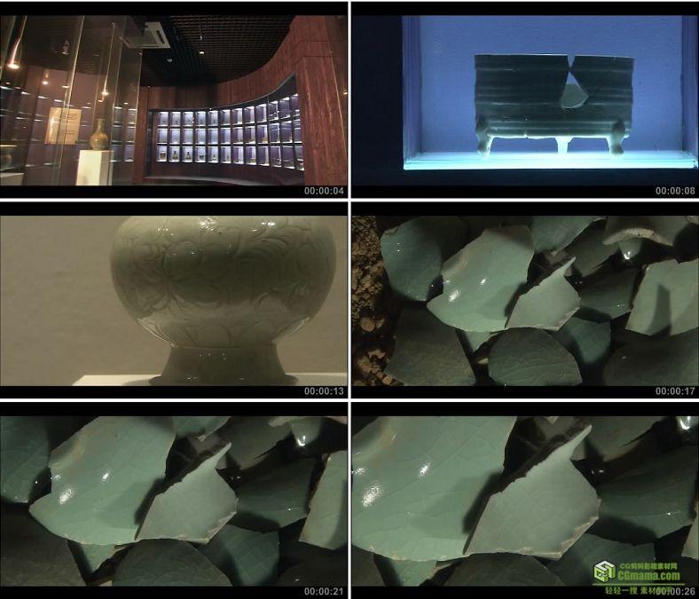 YC0234-南宋官窑博物馆宋朝青瓷/破碎的瓷器/中国高清实拍视频素材下载