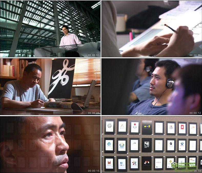 YC0248-做设计图手绘鼠绘/作品墙/设计师/中国高清实拍视频素材下载