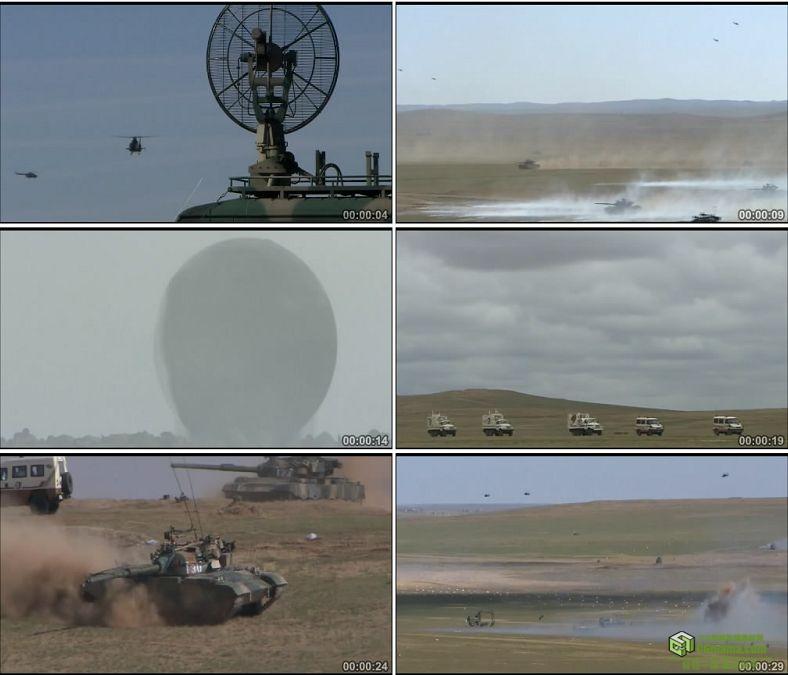 YC0275-电子对抗部队坦克军事演习直升机/中国高清实拍视频素材下载