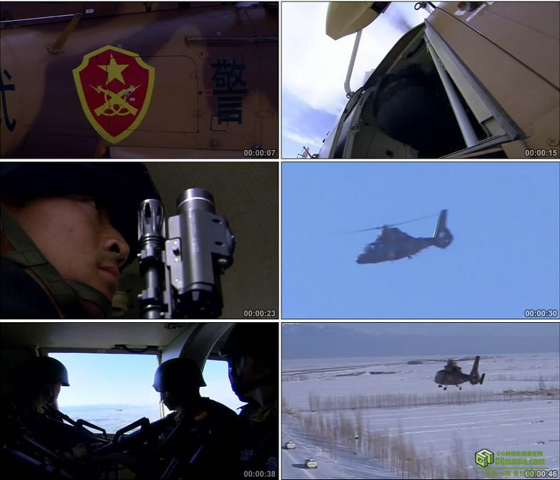 YC0346-武装直升机防恐防暴军事演习/中国高清实拍视频素材下载