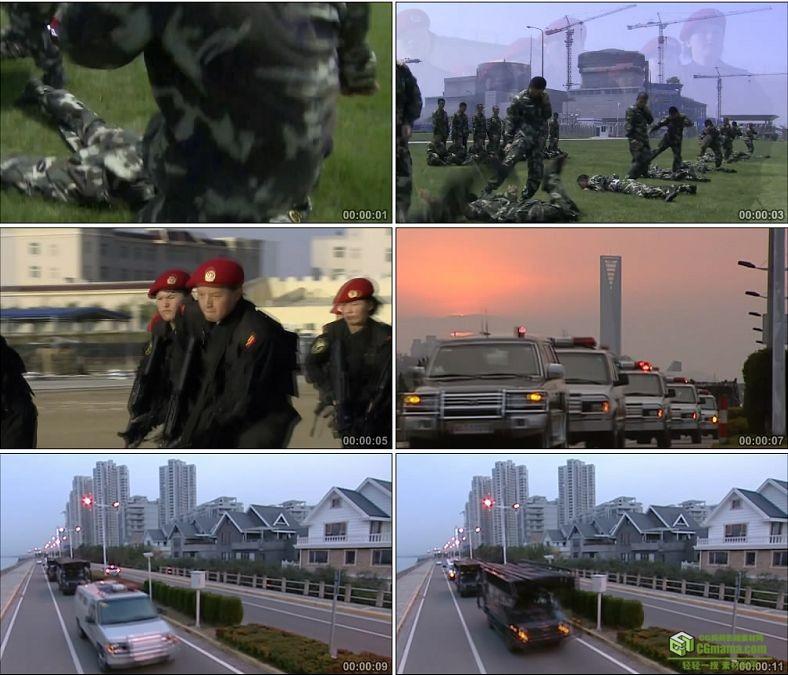 YC0356-武装警察部队搏击训练出警/中国高清实拍视频素材下载