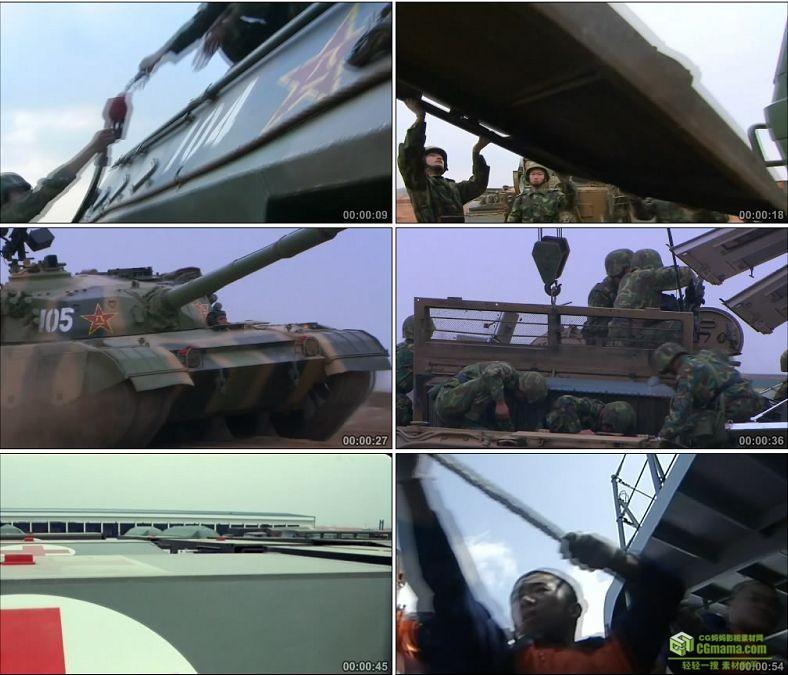 YC0365-中国军队后勤部队坦克加油空降水源/做饭/高清实拍视频素材下载