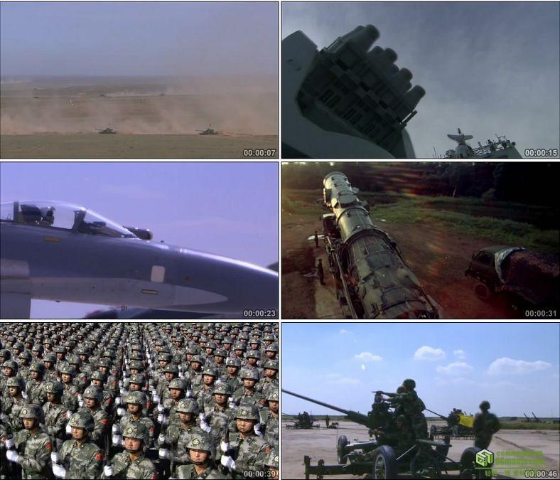 YC0369-海陆空三军坦克军舰核潜艇战斗机步兵导弹/中国高清实拍视频素材下载