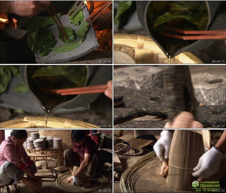 YC0388-少数民族传统炒茶制茶煮茶饮茶茶饼饼茶原创高清实拍视频素材下载