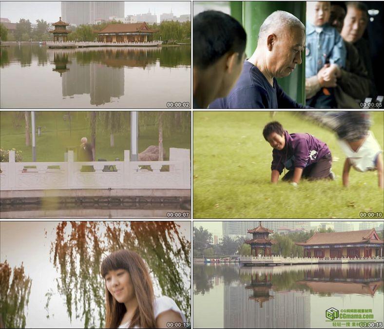 YC0414-公园里孩子玩耍老人锻炼身体美女玩电脑中国高清实拍视频素材下载