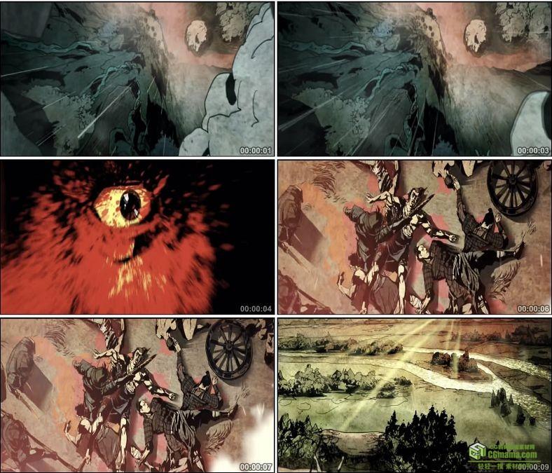 YC0434-中国古代战火战争死人动画高清视频素材下载