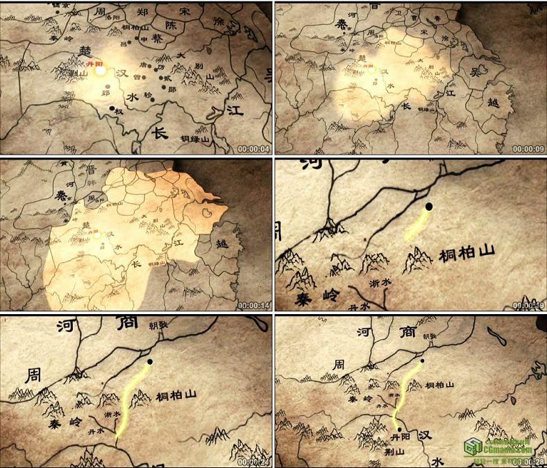 YC0453-春秋战国商周战争版图地图/中国高清实拍视频素材下载