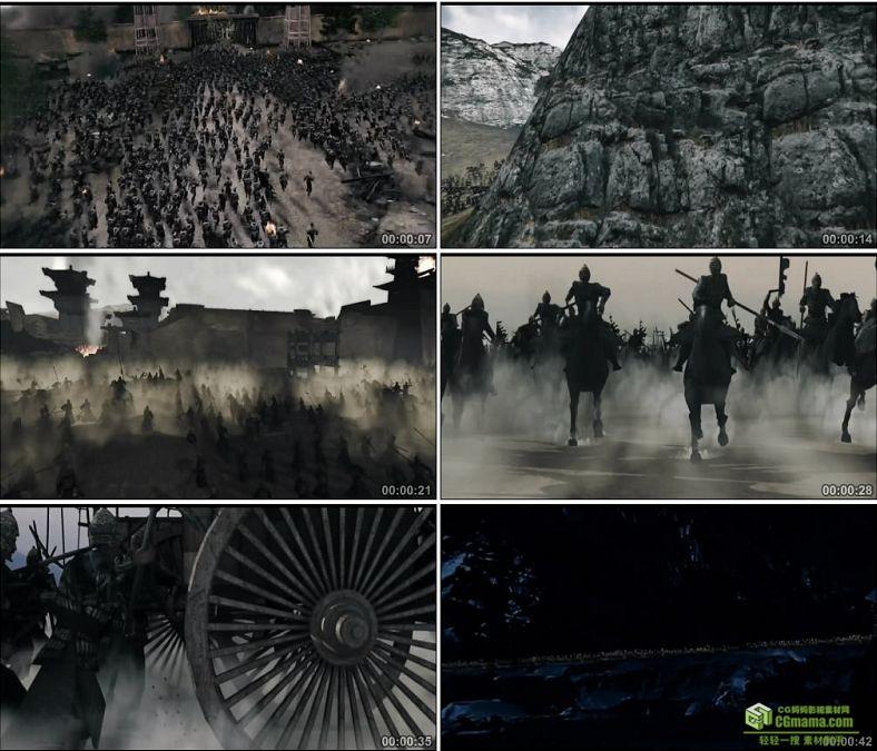 YC0455-中国古代战争骑兵步兵千军万马战车攻城兵荒马乱高清实拍视频素材下载