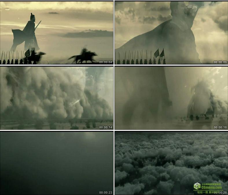 YC0478-中国古代战争将军士兵电闪雷鸣兵荒马乱骑兵烟雾高清实拍视频素材下载