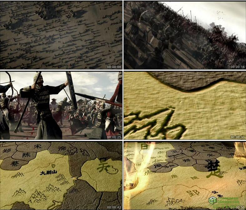 YC0497-中国古代战争春秋战国乱世地图千军万马打仗三维动画高清视频素材