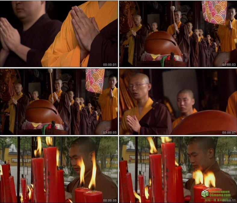 YC0519-寺庙和尚僧侣敲木鱼礼佛中国高清实拍视频素材下载