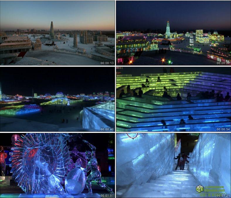 YC0523-哈尔滨冰雕节游客游人游玩冰城中国高清实拍视频素材下载