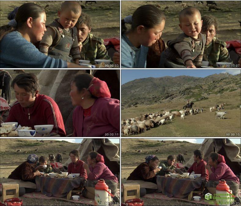 YC0531-草原牧民一家人吃饭放牧帐篷牛羊中国高清实拍视频素材