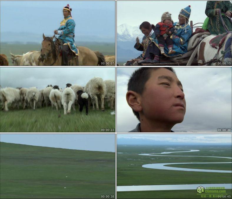 YC0553-草原蒙古族游牧民族放牧放羊骑马帐篷湖泊鸿雁高清实拍视频素材下载