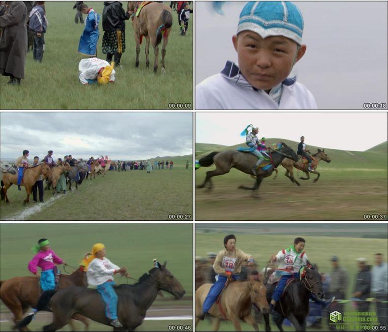 YC0555-草原蒙古族儿童赛马比赛中国高清实拍视频素材下载