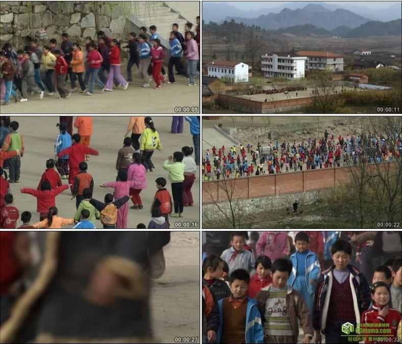 YC0569-农村小学跑操晨练做广播体操放学回家中国高清实拍视频素材下载