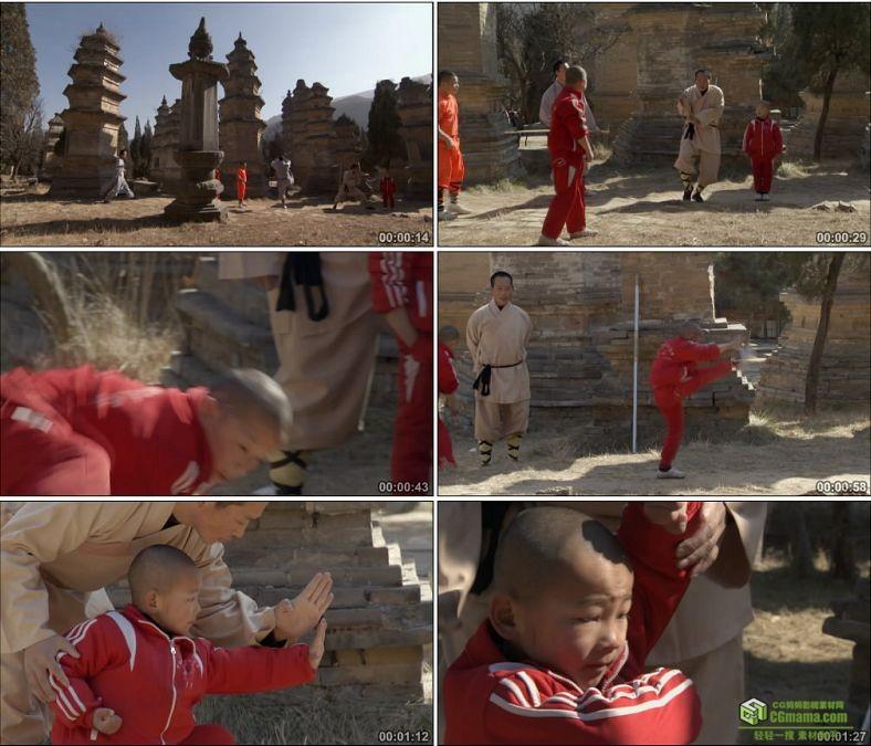 YC0572-中华武术中国功夫少林武僧培训小朋友徒弟高清实拍视频素材下载