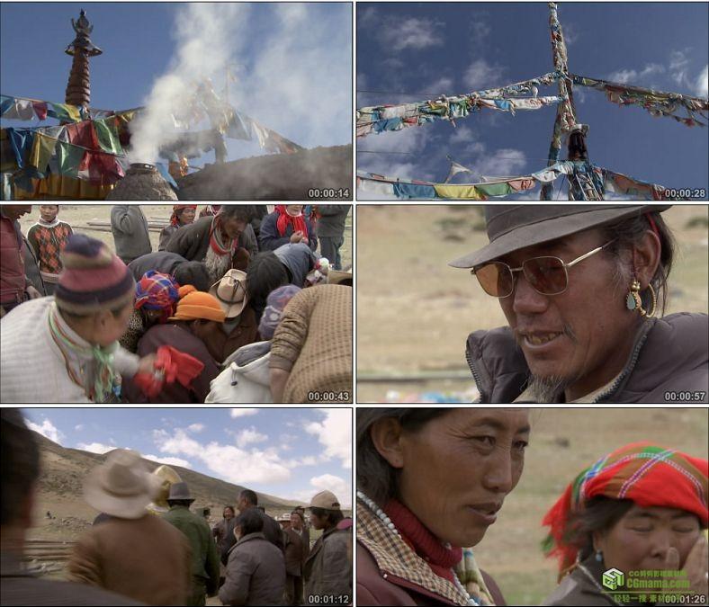 YC0575-西藏人民生活方式经幡布条中国高清实拍视频素材下载