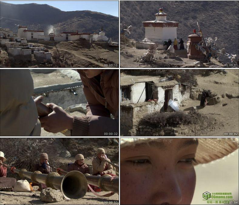 YC0578-西藏传统乐器铜钦藏民民俗中国高清实拍视频素材下载