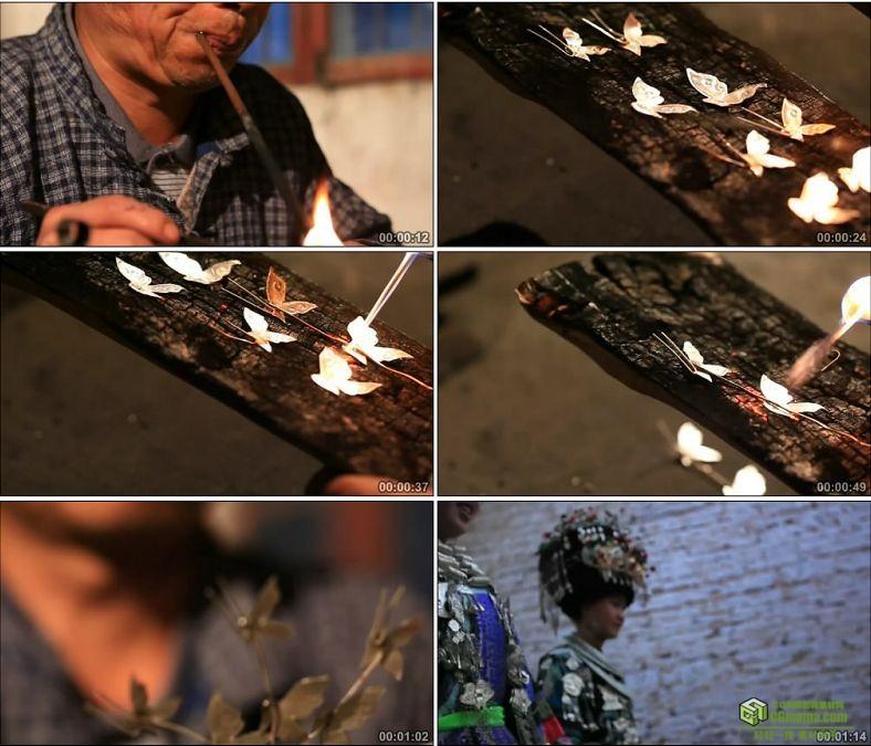 YC0589-传统焊接法制作苗族少女花冠上的银饰蝴蝶中国高清实拍视频素材下载