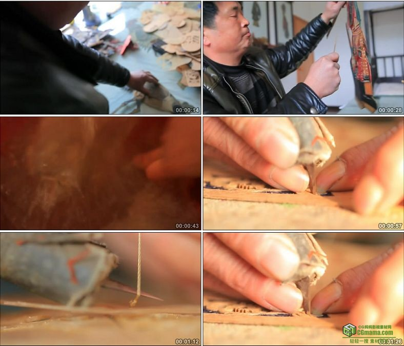 YC0591-传统皮影的收藏和制作中国传统艺术工艺高清实拍视频素材下载
