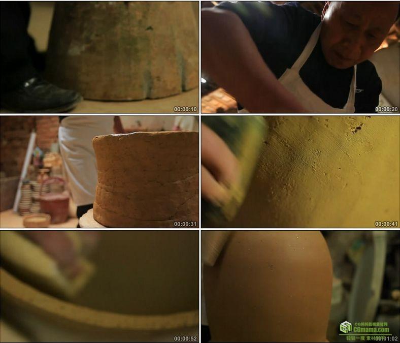 YC0593-传统手工制作陶胚陶艺中国艺术工艺高清实拍视频素材下载