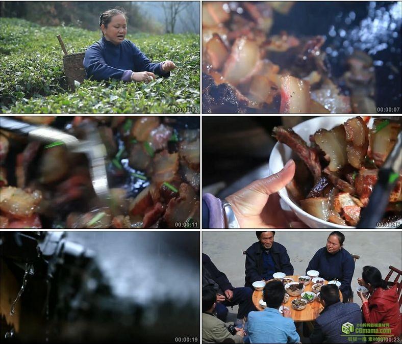 YC0601-地道土家美食炒烟肉土族一家人吃饭中国高清实拍视频素材下载