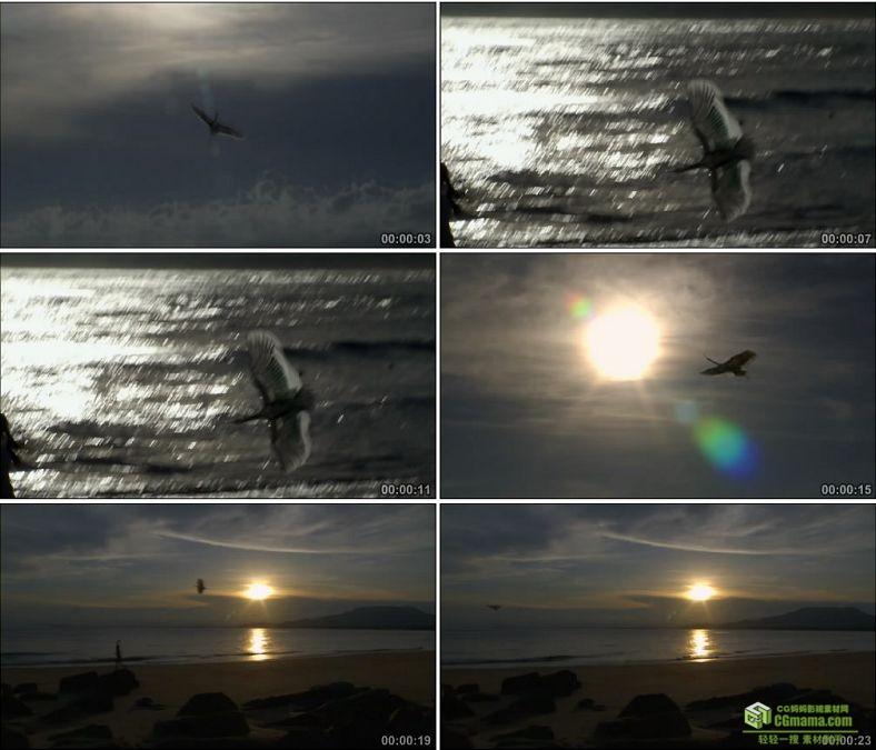 YC0702-小孩海边放风筝逆光剪影中国高清实拍视频素材下载