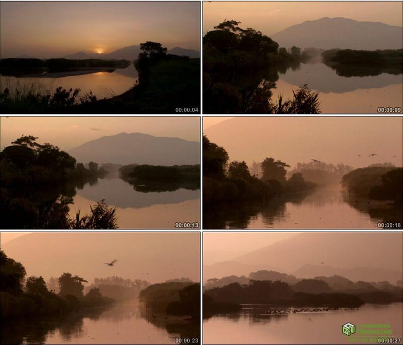 YC0713-水中的夕阳倒影太阳落山景色黄昏风景中国高清实拍视频素材下载